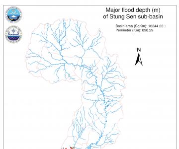 Map – Major flood depth (m) of Stung Sen sub-basin