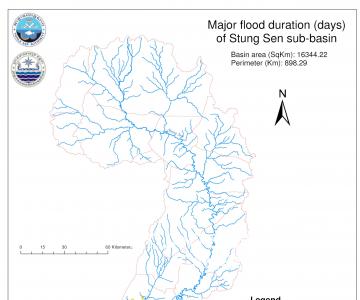 Map – Major flood duration (days) of Stung Sen basin